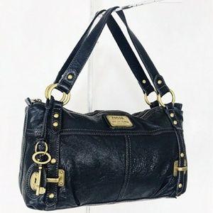 Fossil Black Leather Shoulder Handbag